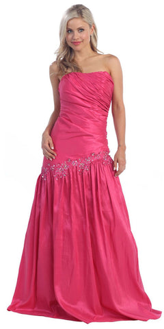 Fuchsia Prom Gown Taffeta Strapless Shirred Bodice Full Length