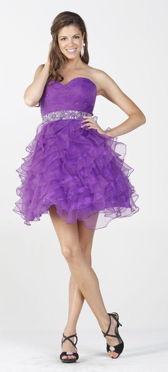 Poofy Fuchsia Prom Dress Strapless Sweetheart Rhinestone Ruffle Gown