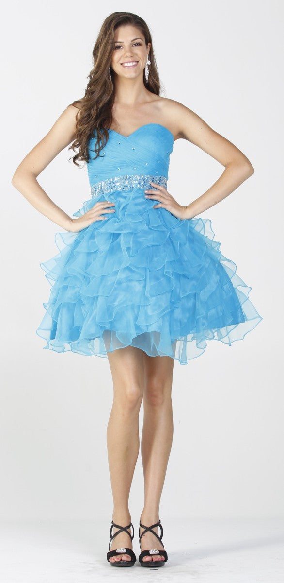 Poofy Turquoise Prom Dress Strapless Sweetheart Rhinestone Ruffle Gown