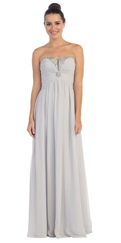Full Length Chiffon Formal Gown Silver Empire Strapless