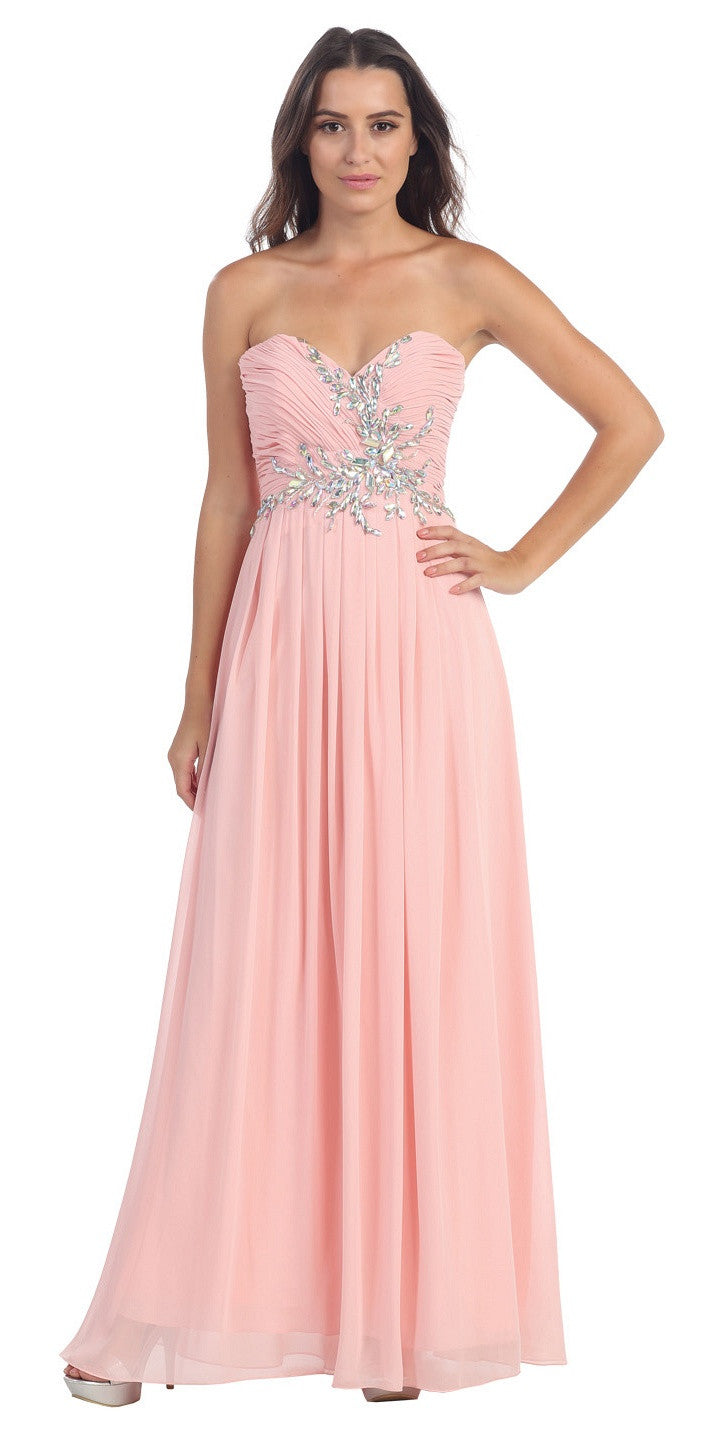 Full Length Chiffon Strapless Blush Prom Gown A Line
