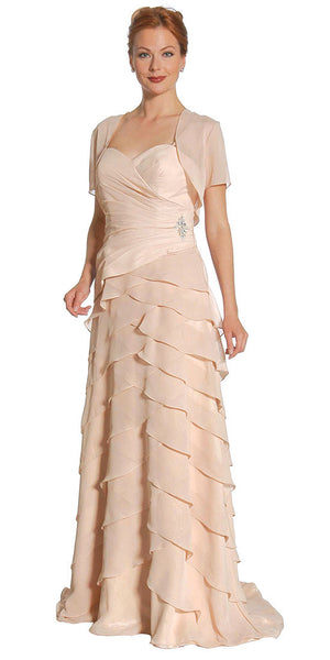 Gold Spaghetti Strap Chiffon Formal Dress Multi Ruffle Hem
