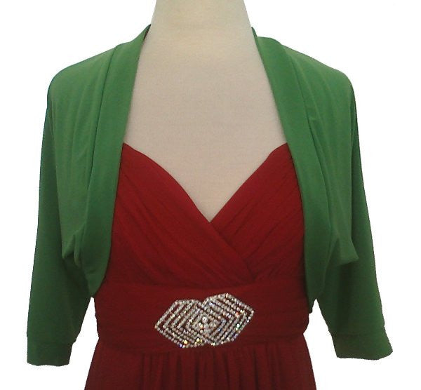Mid Length Green Bolero Jacket Stretch Shrug Bridal Wedding Jacket