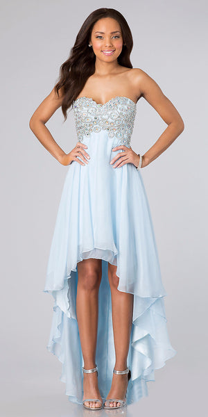 High Low Baby Blue Chiffon Homecoming Dress Sweetheart Strapless