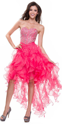 High Low Coral Dress Organza Ruffle Skirt Boned Corset Strapless