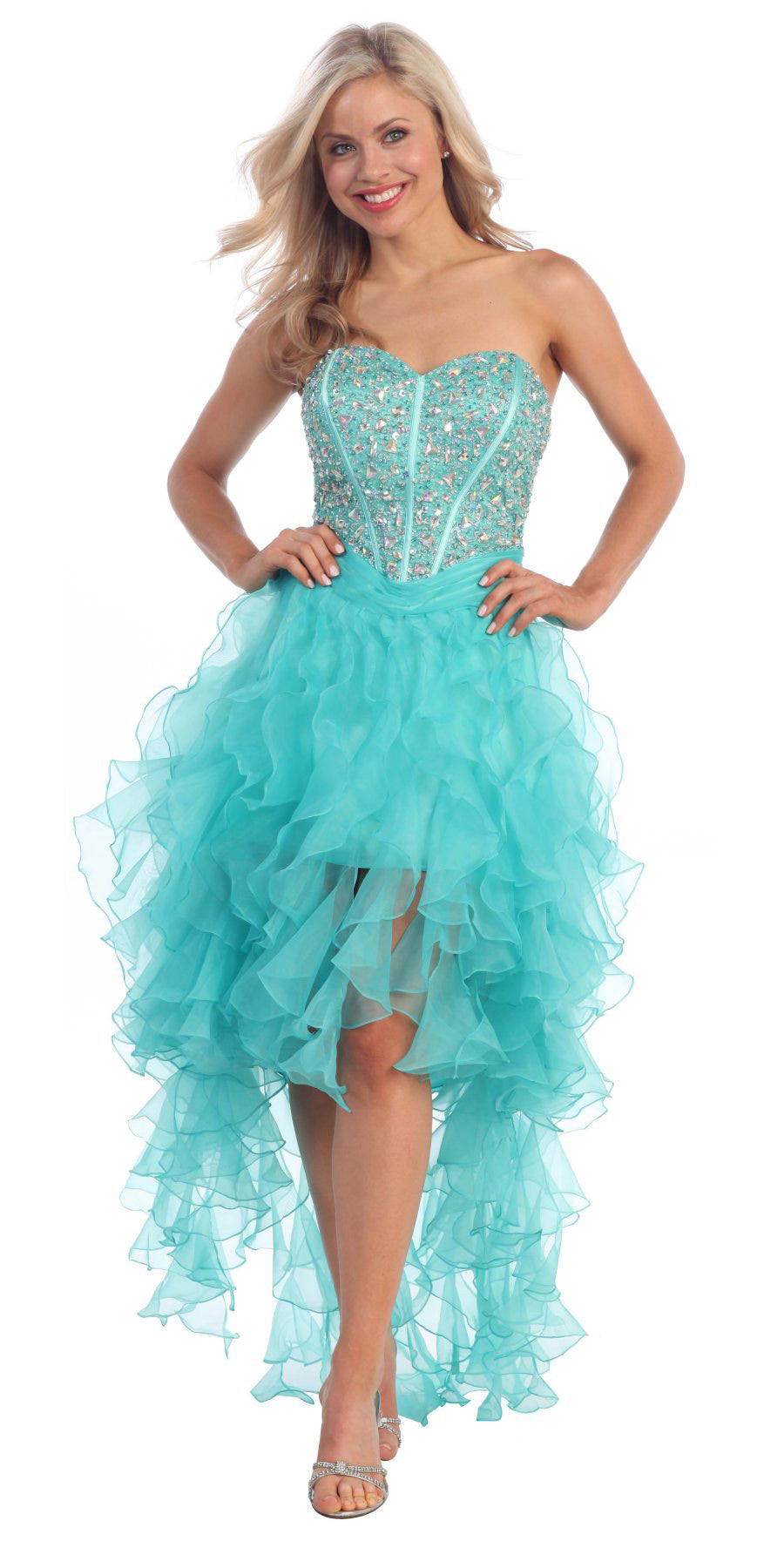 Ruffled Organza Skirt With Embroidered And Beaded Bodice: High Low Jade Dress Organza Ruffle Skirt Boned Corset