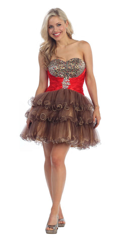 ON SPECIAL - LIMITED STOCK - Animal Leopard Print Brown Sweet 15 Dress Red Satin Waist Tulle Skirt