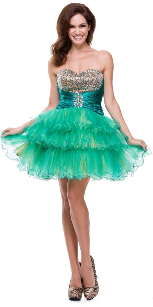 ON SPECIAL - LIMITED STOCK - Animal Leopard Print Teal Sweet 15 Dress Teal Satin Waist Tulle Skirt