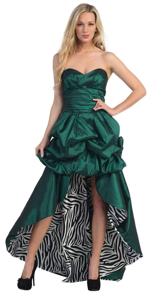 Hunter Green Zebra Animal Print Dress High Low Strapless Bubble Hem