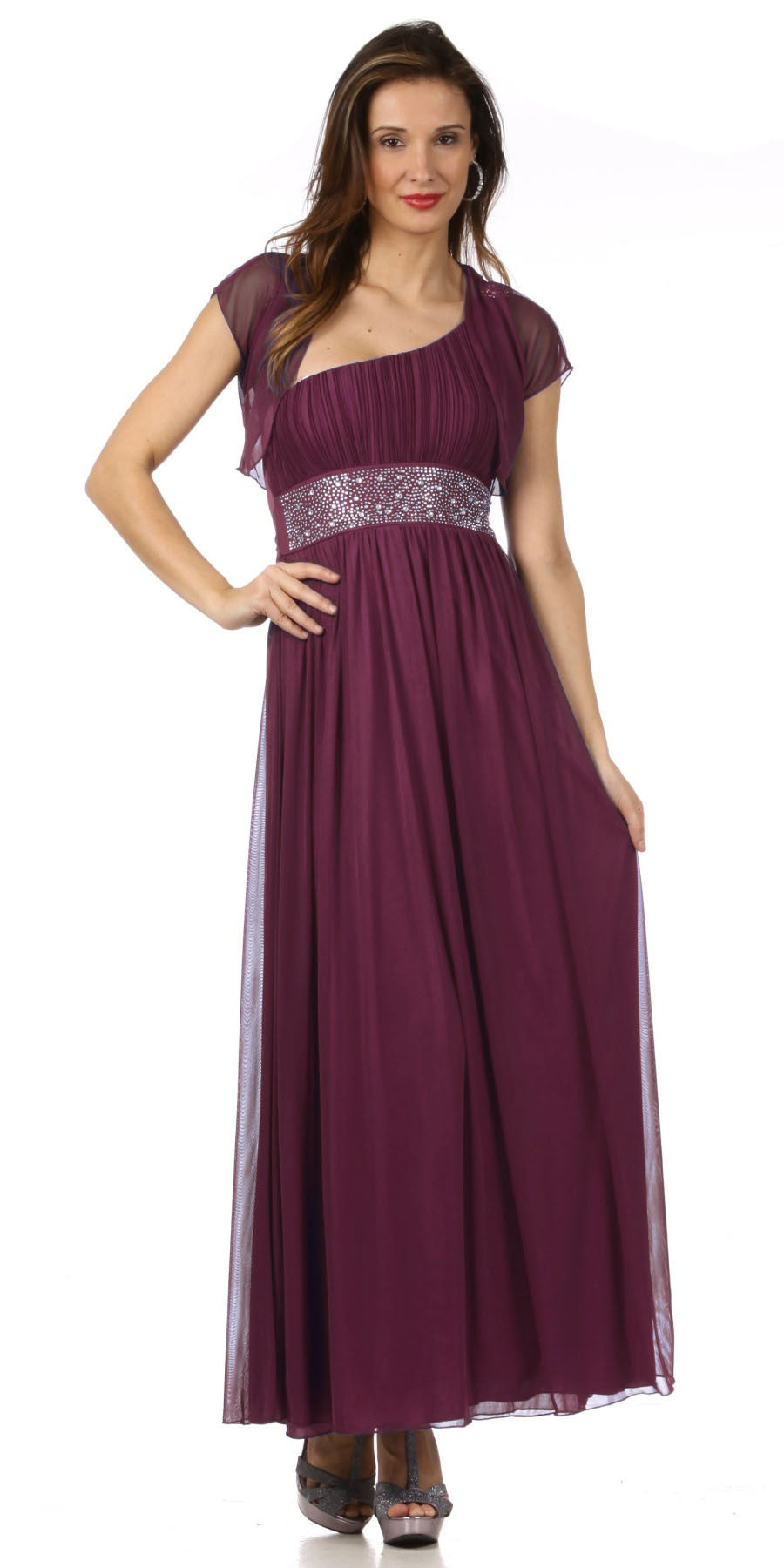 Long Plum One Shoulder Cruise Gown Chiffon Empire Rhinestone