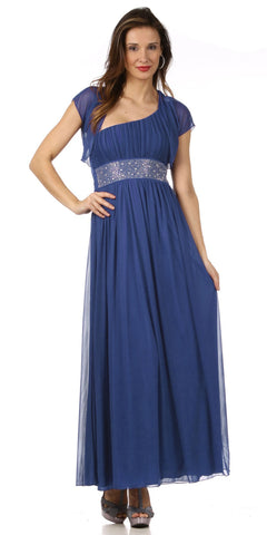 Long Royal Blue One Shoulder Evening Gown Chiffon Empire Waist Rhinestone