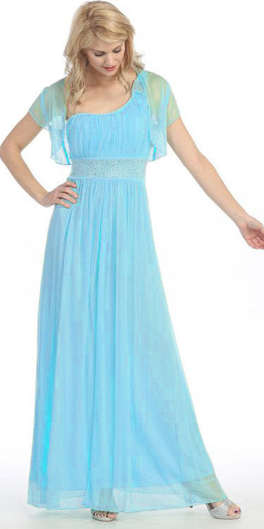 Ankle Length One Shoulder A Line Turquoise Formal Dress
