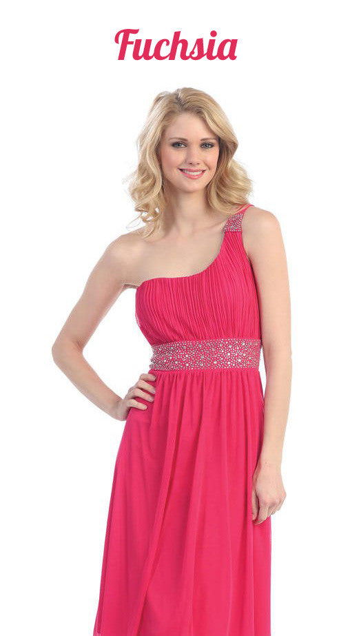 Ankle Length One Shoulder A Line Fuchsia Formal Dress