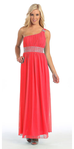 Ankle Length One Shoulder A Line Coral Formal Dress