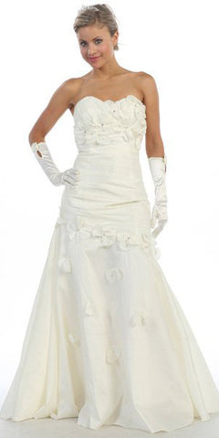 ON SPECIAL - LIMITED STOCK - Ivory Long Formal Gown Strapless Sweetheart Flower Appliques Dress