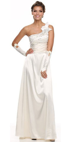 ON SPECIAL - LIMITED STOCK - Ivory Sexy Prom Dress Sequin One Shoulder Ruched Waist Satin Gown