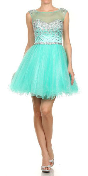 Keyhole Back Meshed Yoke Bateau Neck Jade Puffy Dress