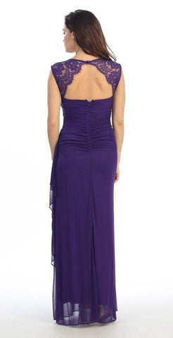 Eureka Fashion 1927 Keyhole Back Sheer Strapped Long Purple Formal Gown
