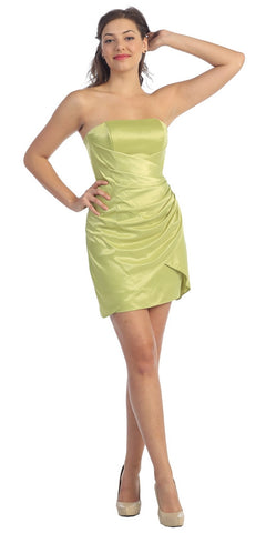 Apple Green Cocktail Dress Night Club Party Dress Strapless Above Knee Satin