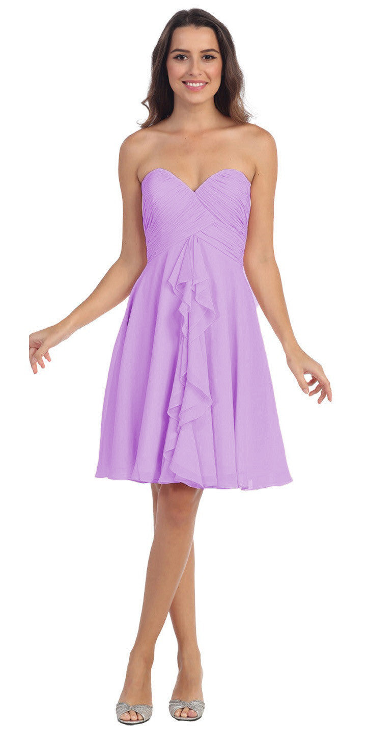 Knee Length Chiffon Bridesmaid Dress Lilac Sweetheart Neck