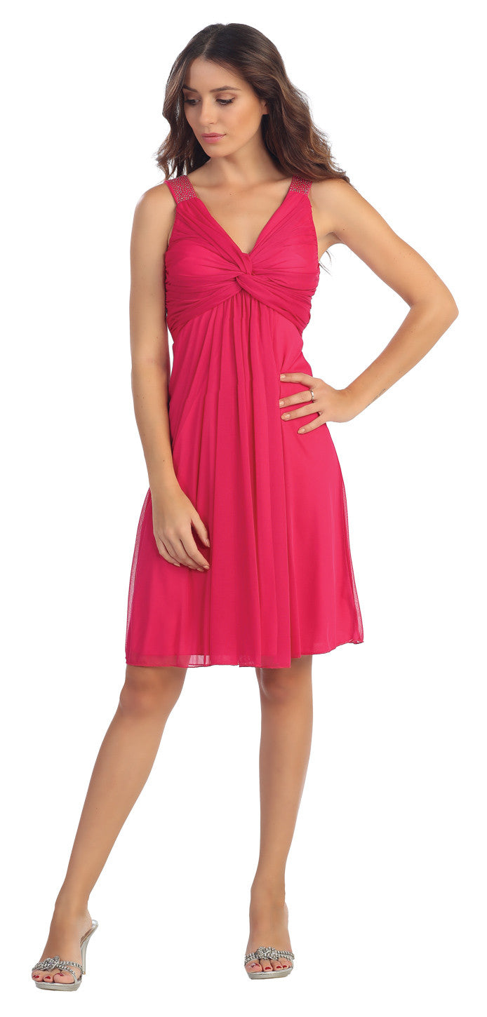 Knee Length Chiffon Bridesmaid Dress Fuchsia Empire Thick Strap