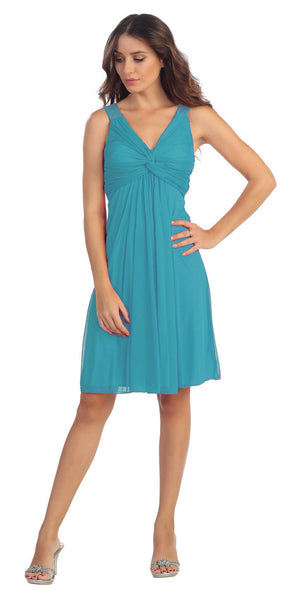 Knee Length Chiffon Bridesmaid Dress Jade Empire Thick Strap