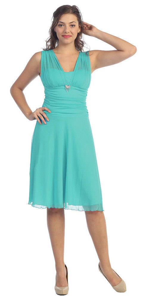 Short Jade Dress Knee Length Bridesmaid Chiffon Wide Straps