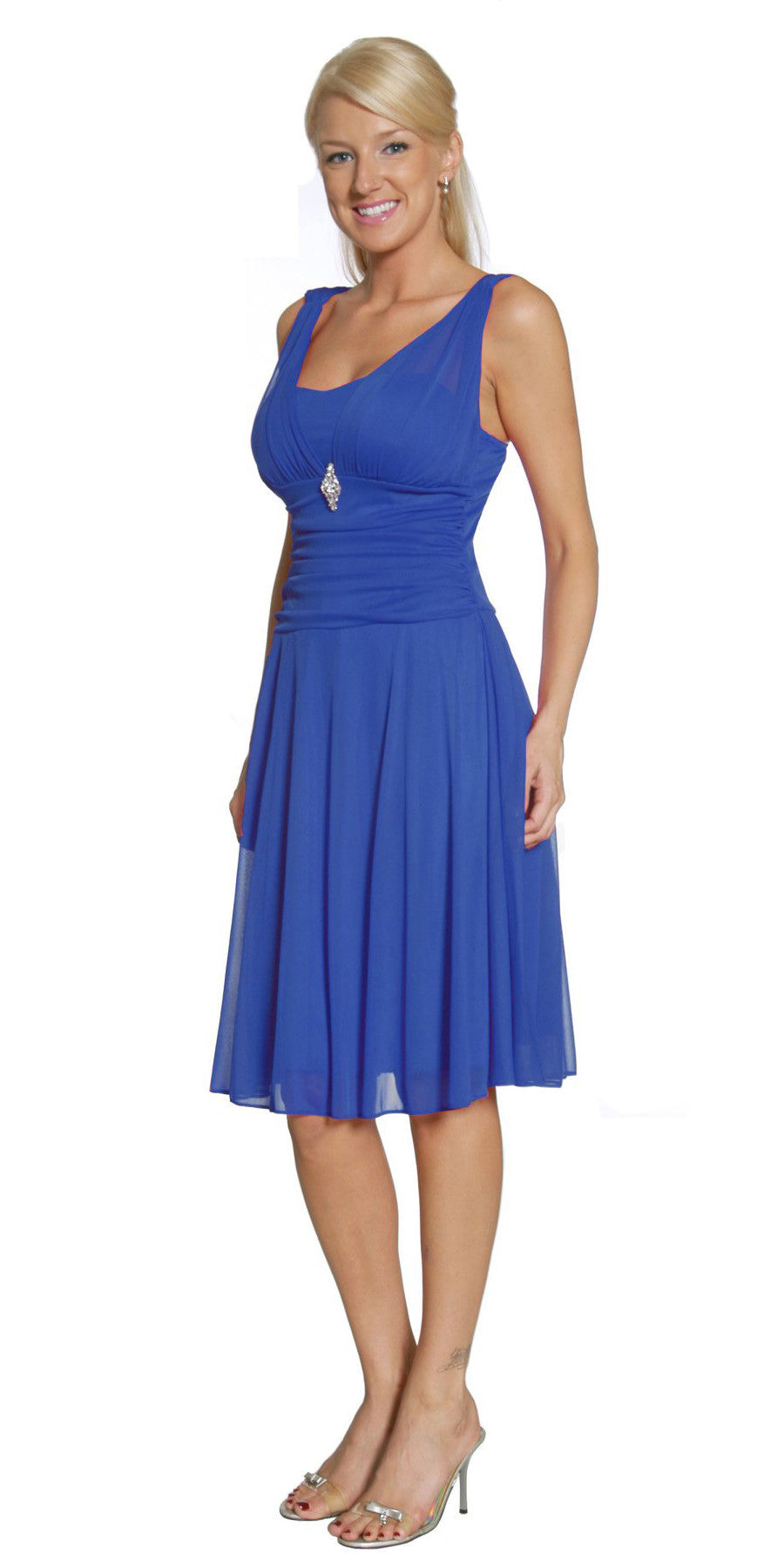 Short Royal Blue Dress Knee Length Bridesmaid Chiffon Wide Straps