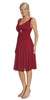 Short Burgundy Dress Knee Length Bridesmaid Chiffon Wide Straps