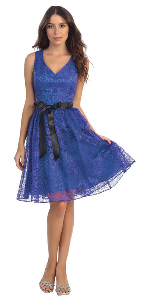 Knee Length Lace Royal Blue Bridesmaid Dress Wide Strap V Neck