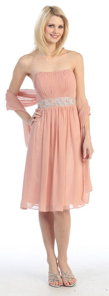 Knee Length Sleeveless Dusty Pink A Line Cocktail Dress