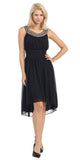 Knee Length Studded Neck Short Black Dinner Party Dress