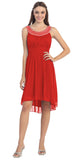 Knee Length Studded Neck Short Red Dinner Party Dress
