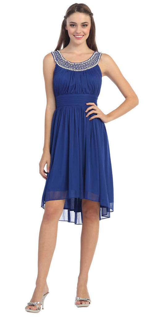 Knee Length Studded Neck Short Royal Blue Dinner Party Dress
