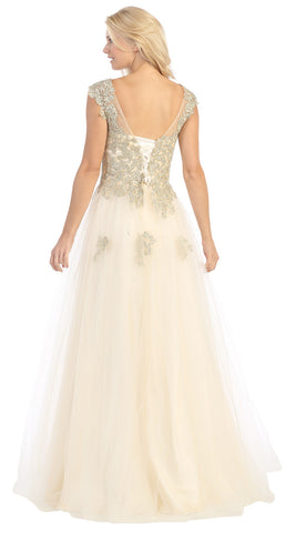 Lace Bodice Illusion Neckline A Line Long Gold Ball Gown