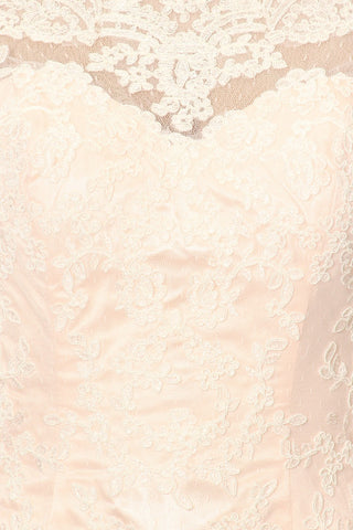 Lace Sheath Mermaid Silhouette Wedding Gown Off White Pink