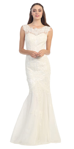 Lace Sheath Mermaid Silhouette Wedding Gown Ivory