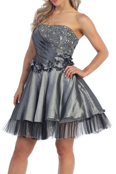 ON SPECIAL - LIMITED STOCK - Lace Up Back Charcoal Dress Short A Line Strapless Taffeta Beading