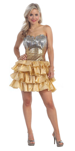ON SPECIAL - LIMITED STOCK - Lace Up Back Gold Dress Short Foiled/Metallic Top Ruffled Skirt