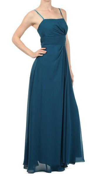 Laced Shrug Side Gathered Long Teal Formal Dress