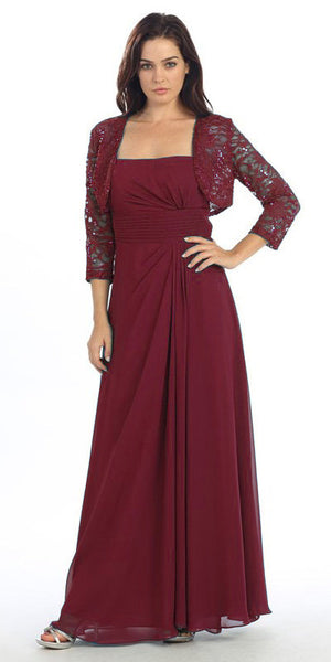 Laced Shrug Side Gathered Long Burgundy Formal Dress