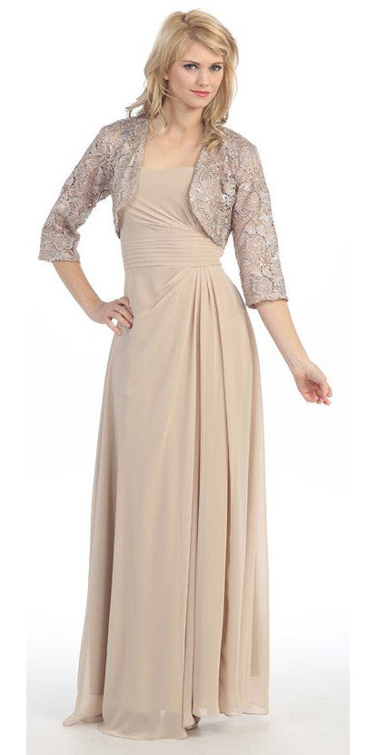 Laced Shrug Side Gathered Long Gold Formal Dress