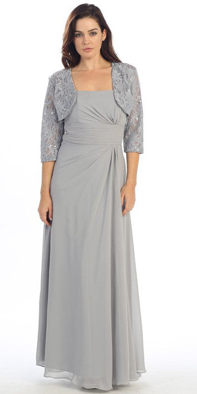 Laced Shrug Side Gathered Long Silver Formal Dress