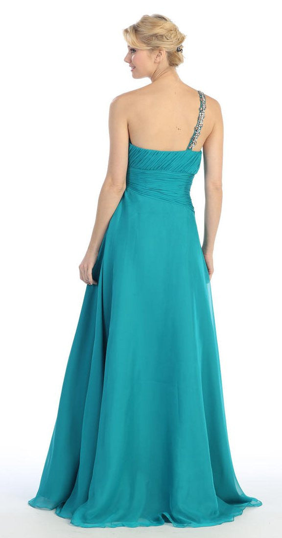 Layered Floor Length One Shoulder Jade Red Carpet Gown