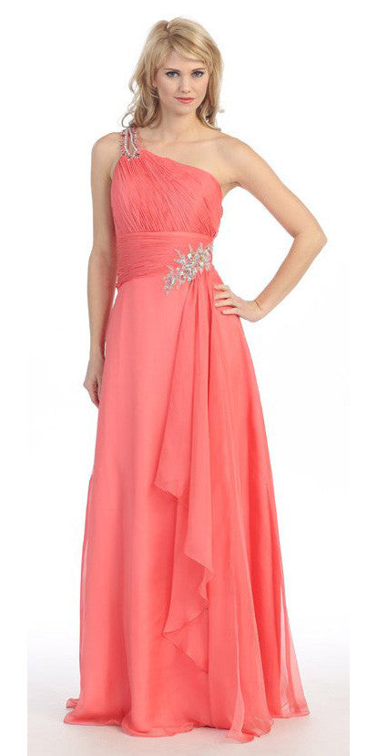 Layered Floor Length One Shoulder Coral Red Carpet Gown