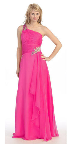 Layered Floor Length One Shoulder Fuchsia Red Carpet Gown