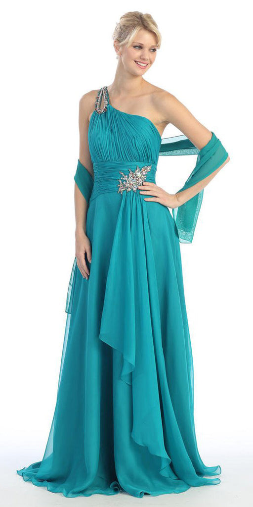 Layered Floor Length One Shoulder Jadel Red Carpet Gown