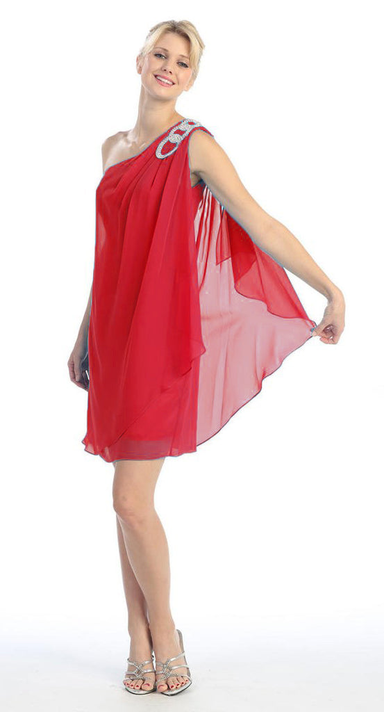 Layered One Shoulder Short Red Chiffon Club Dress