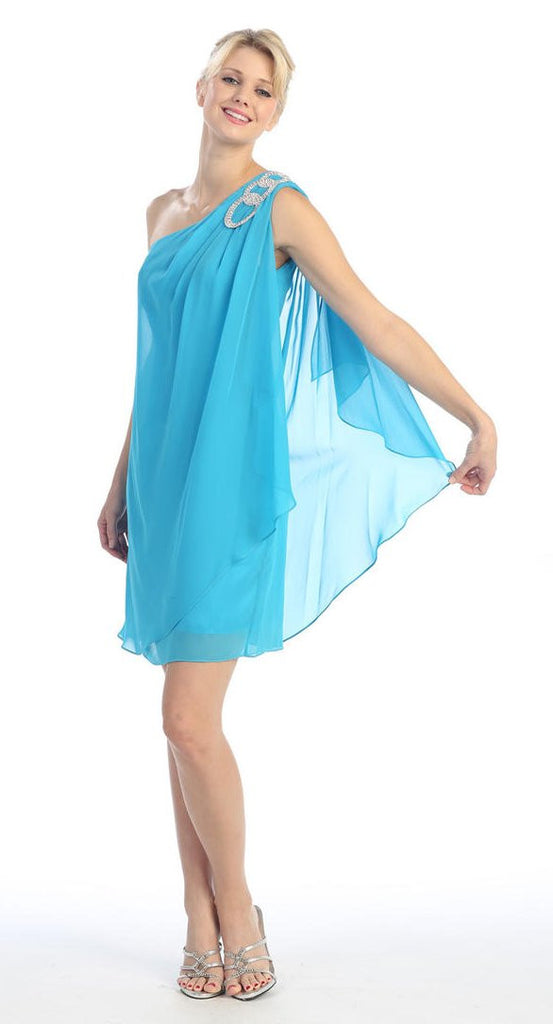 Layered One Shoulder Short Turquoise Chiffon Club Dress