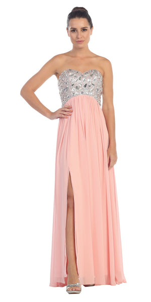 Layered Strapless Laced Bodice Long Blush Prom Dress